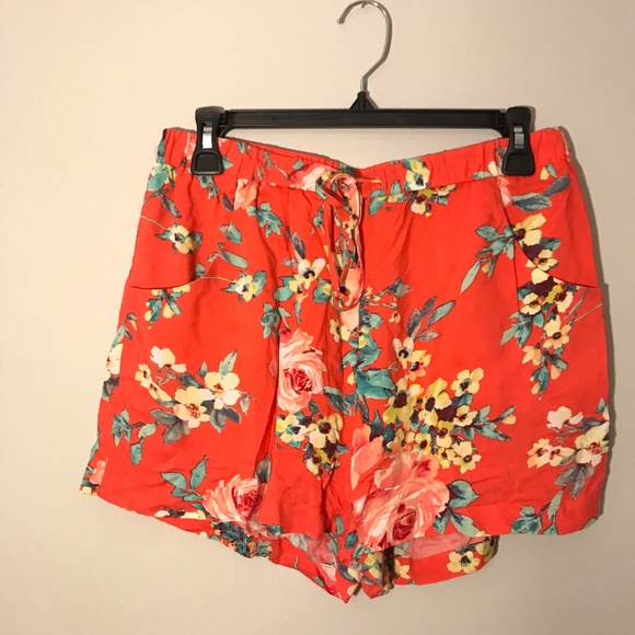 Leyden Pants - Coral, mint, yellow floral shorts